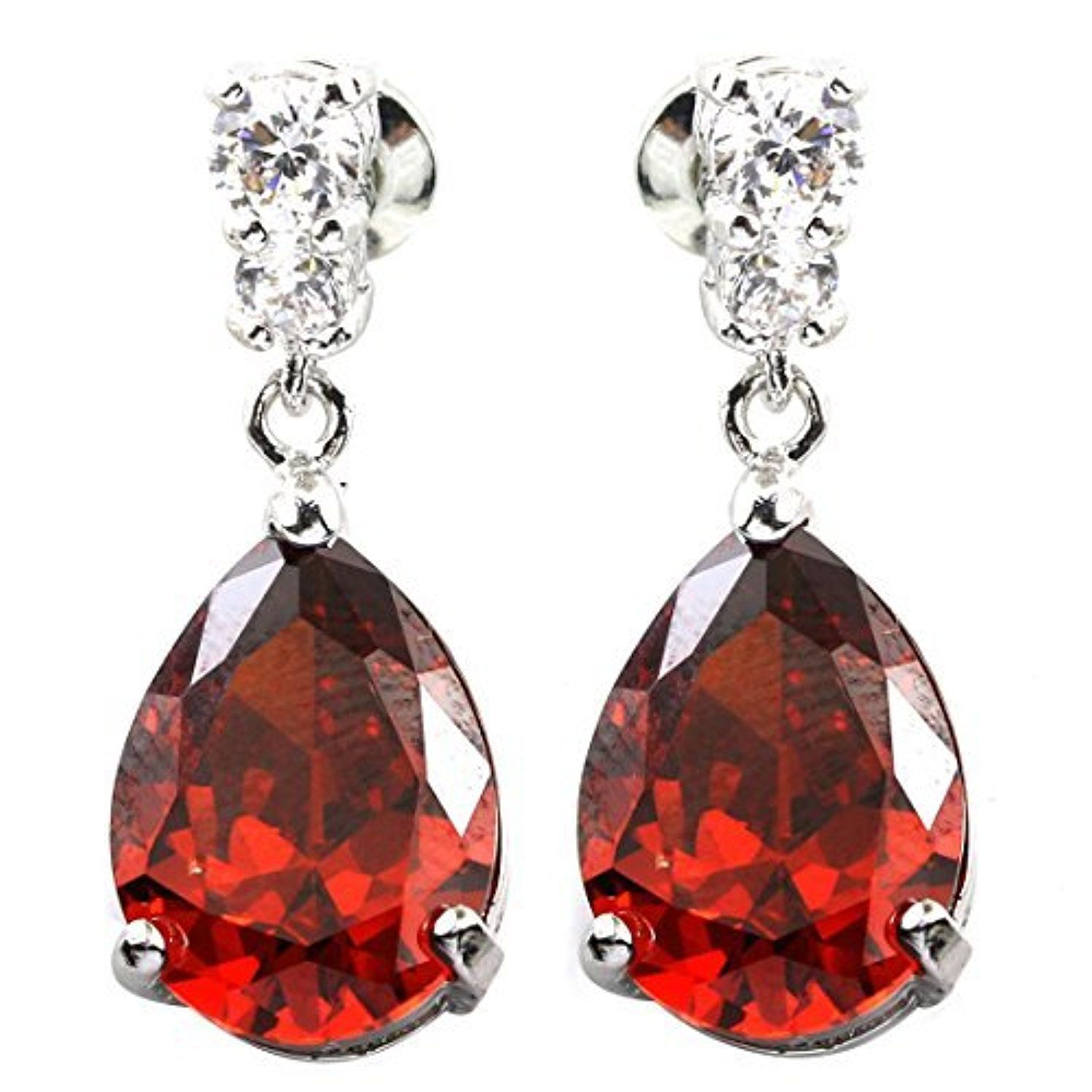 Fc White Gold Gp Teardrop Red Cz Bridal Wedding Crystal Earrings Prong  Silver By Fc