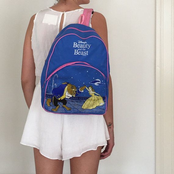 Vintage Beauty and the Beast Disney Backpack by BlackwellVintage ...