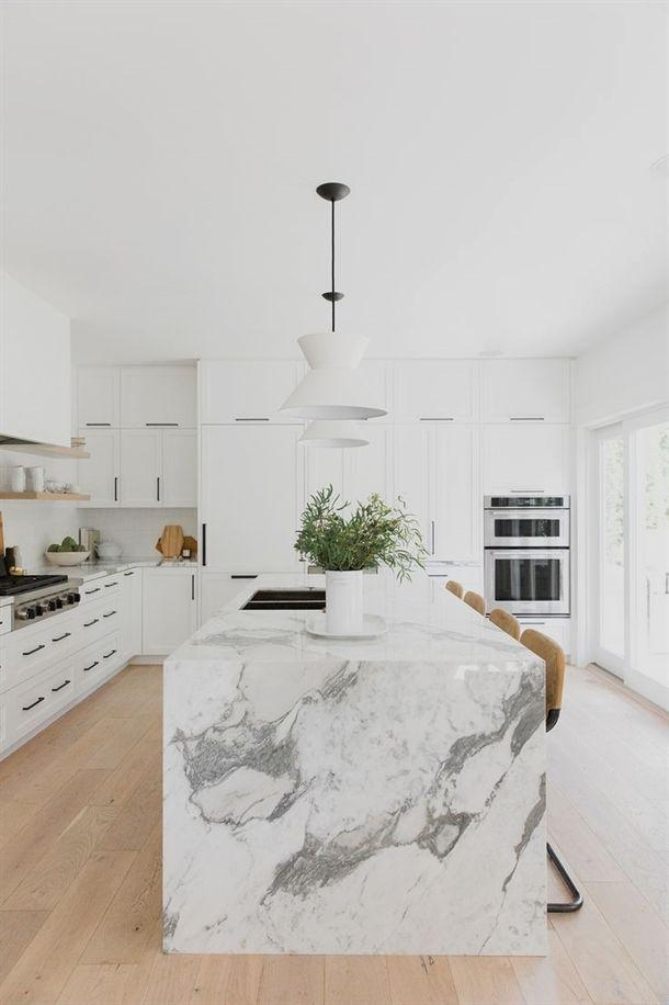 White Kitchen Marble Islands