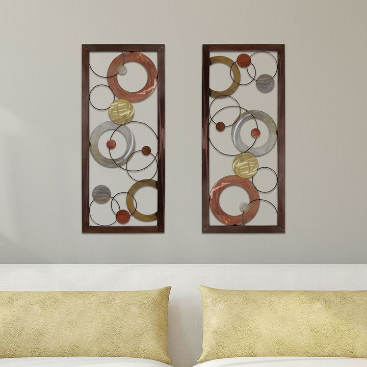 Stratton Home Decor Multi Circle Panel Metal Wall Art Circle