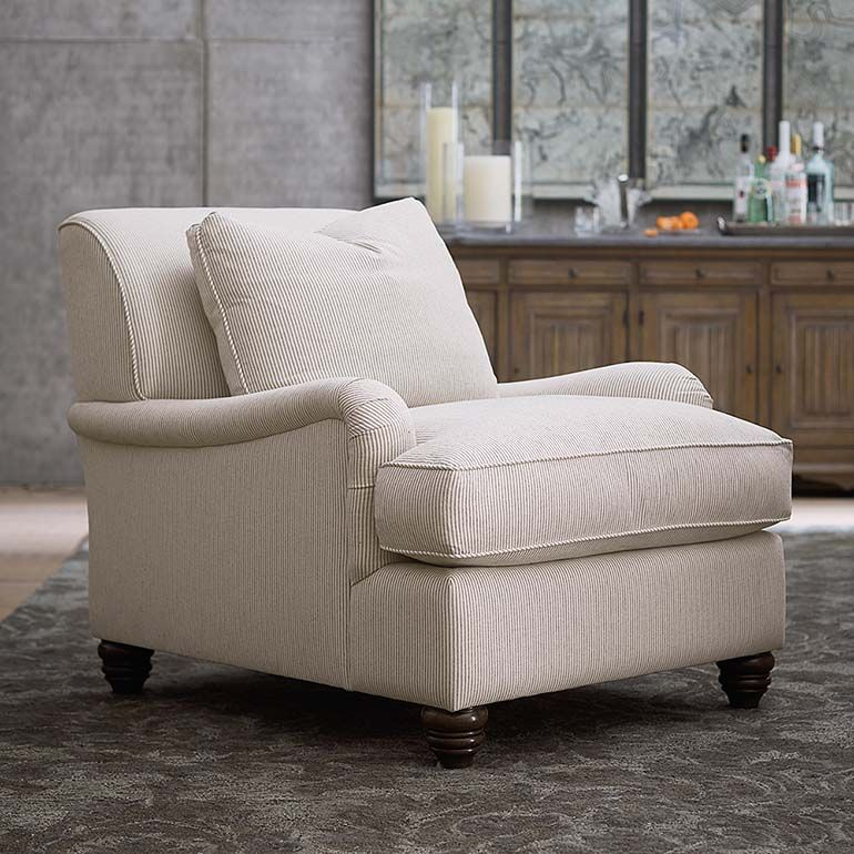 The Designer Comfort Bridgewater Accent Chair Features A Charles Of London Arm And Comfortable Living Room Chairs Living Room Chairs Comfortable Accent Chairs