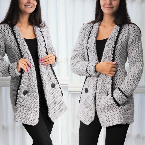 Crochet pattern -Patron crochet-Mia Crochet cardigan PDF -women ...