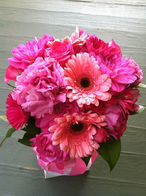 Bridal Bouquet - Garden roses, dahlias, gerbera daisies by Weddings by Jennifer, via Flickr