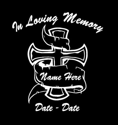 In Loving Memory Decal Cross And Banner Httpcustomstickershop - Cross custom vinyl decals for car windows