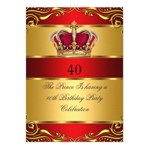 Queen prince king regal red gold crown birthday card gold crown party invitations stopboris Gallery