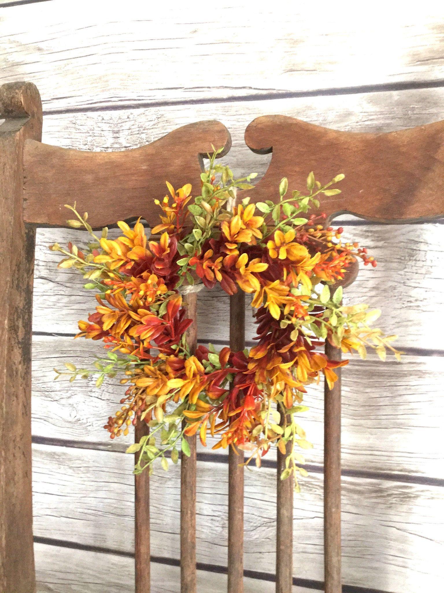 Fall Boxwood Wreath, Fall Pillar Candle Wreath, Fall