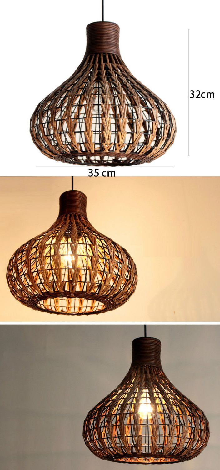 Handmade 14 Modern Rattan Ceiling Light Lamp Living Lights Fixture Study Traditional Pendant Lighting Wicker Pendant Light Ceiling Light Fixtures Living Room
