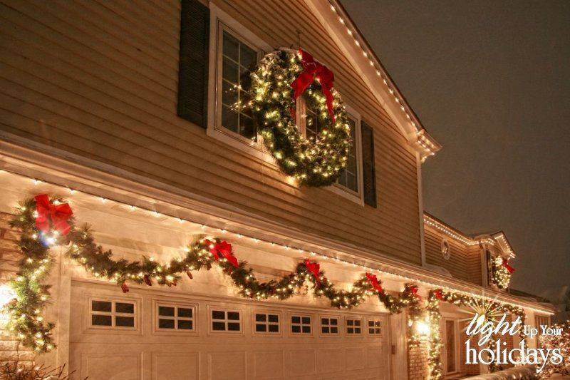 Include your garage door in your holiday decorating to maximize