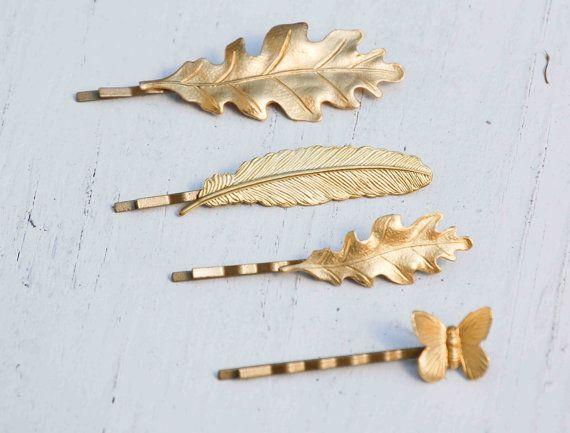 Artikel ähnlich wie Blatt Bobby Pin Set Herbst Gold Haarnadeln Braut Haarspangen Wald Hochzeit Geschenk für ihre Brautjungfer Geschenk Rustikale Herbst Hochzeit Eiche Blatt auf Etsy