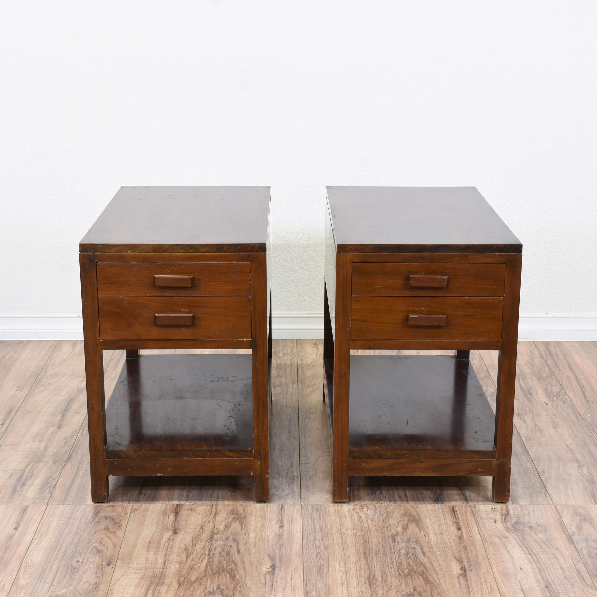 Pair Of Narrow But Deep 2 Drawer Nightstands Perfect Matching End