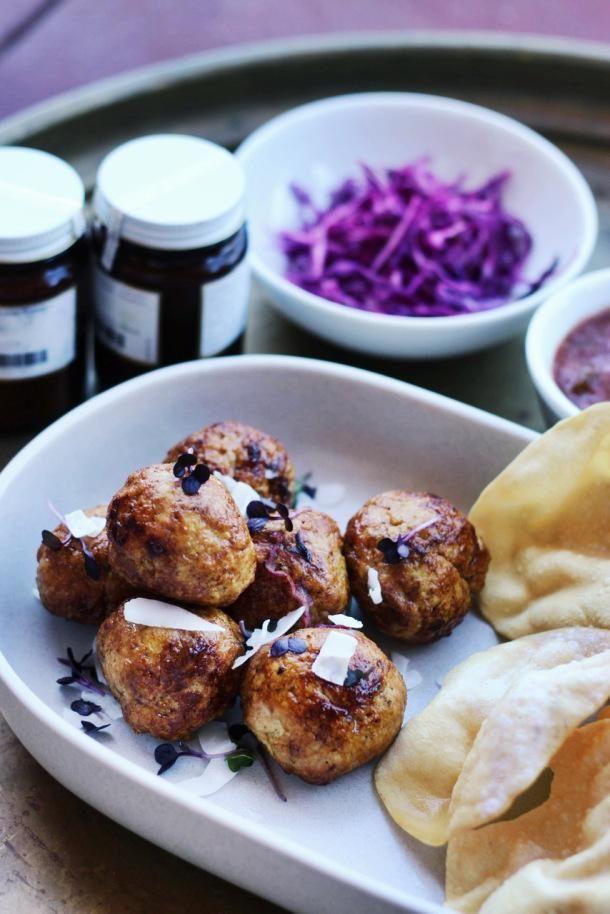Chicken Recipe : Sticky Bombay Meatballs with Purple Cabbage Slaw + Poppadoms