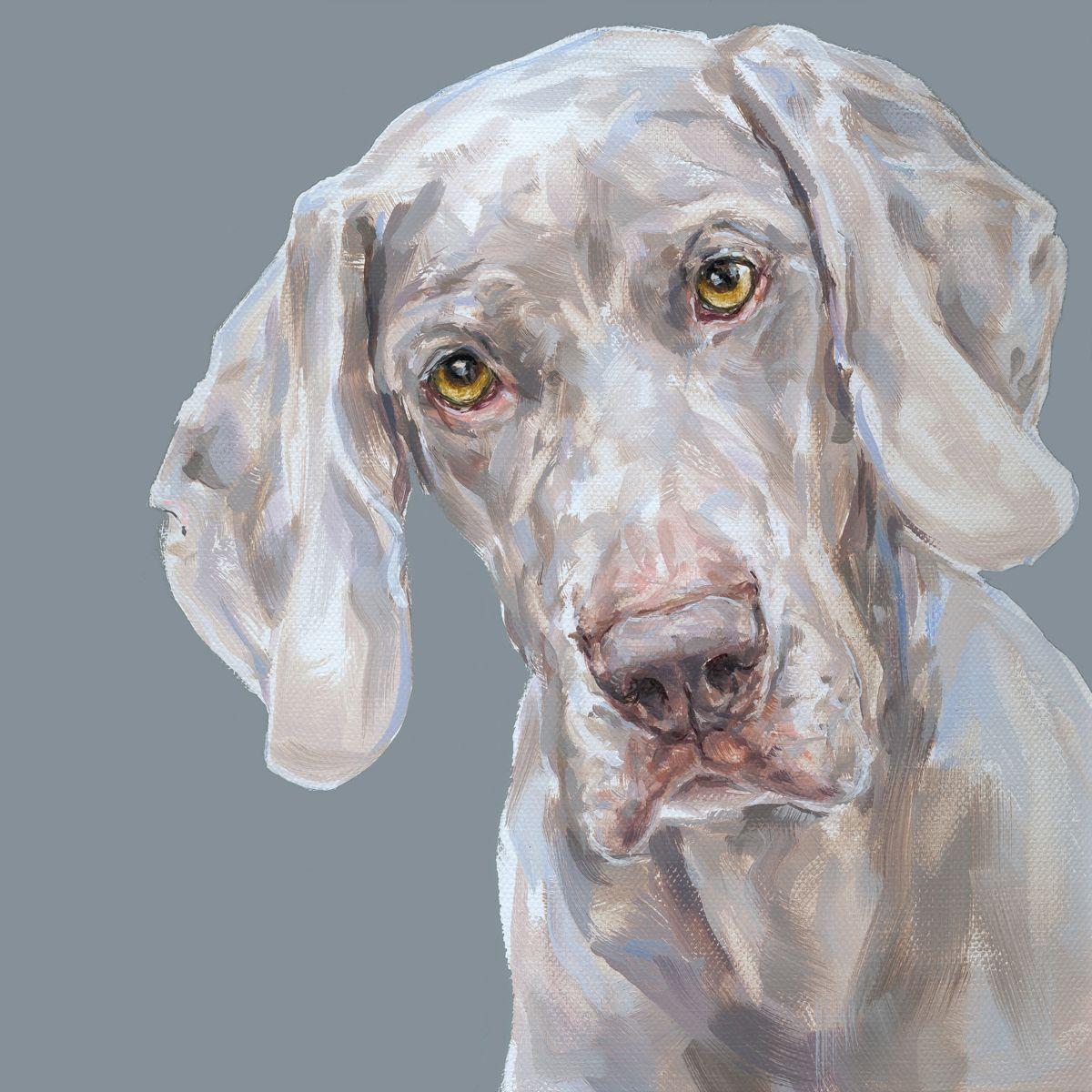 2 Weimaraner Limited Edition Print Dog Art Animal Paintings Dog Paintings