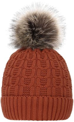 b30be1144bc Burnt Orange Sherpa Faux-Fur Pom-Pom Beanie  hat  womens Love this color    pattern on it!!!