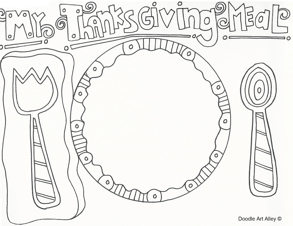 Thanksgiving Plate Coloring Sheet