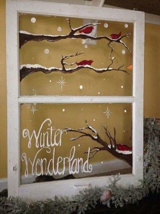 Painted old window Christmas Pinterest Navidad, Madera
