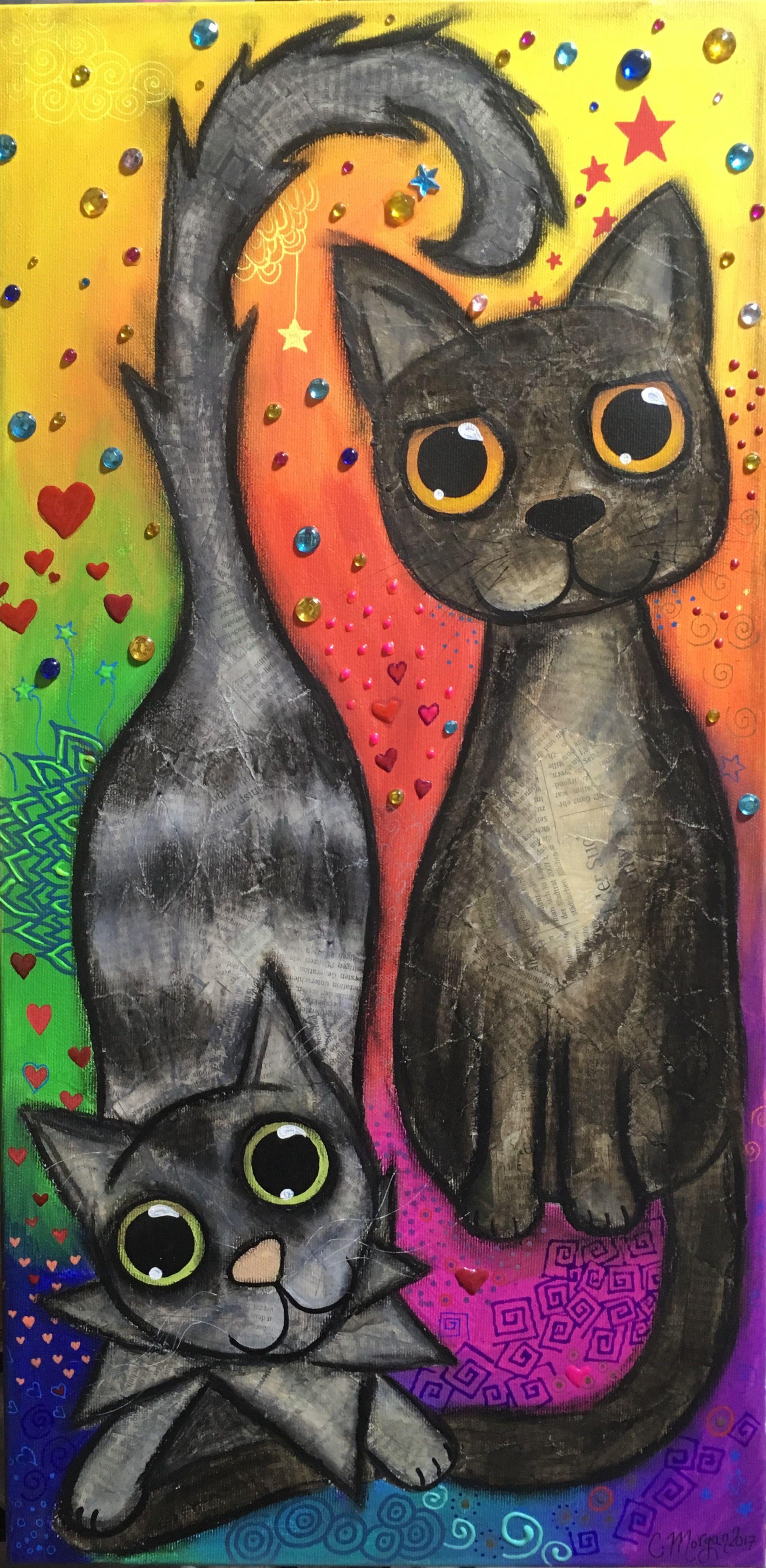 Mis gatos mixedmedia, mixed media cats, cat | Pinterest | Cuadro, De ...