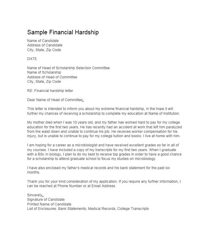 Hardship Letter Template 19 sherwrght@aol Pinterest - cover letter for scholarship