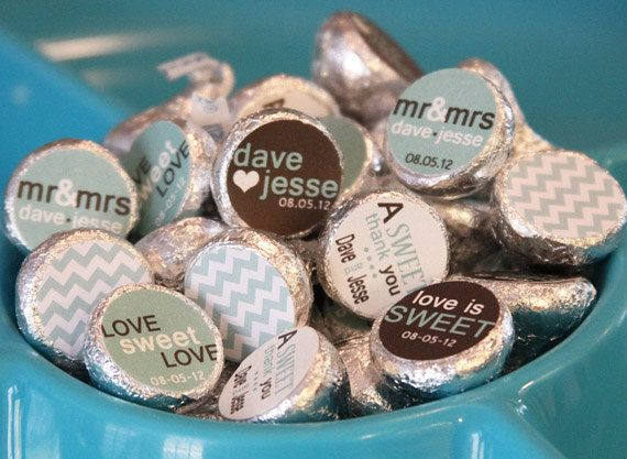 Hershey Kiss Labels Candy Stickers For Kisses Diy Chevron Theme Weddings