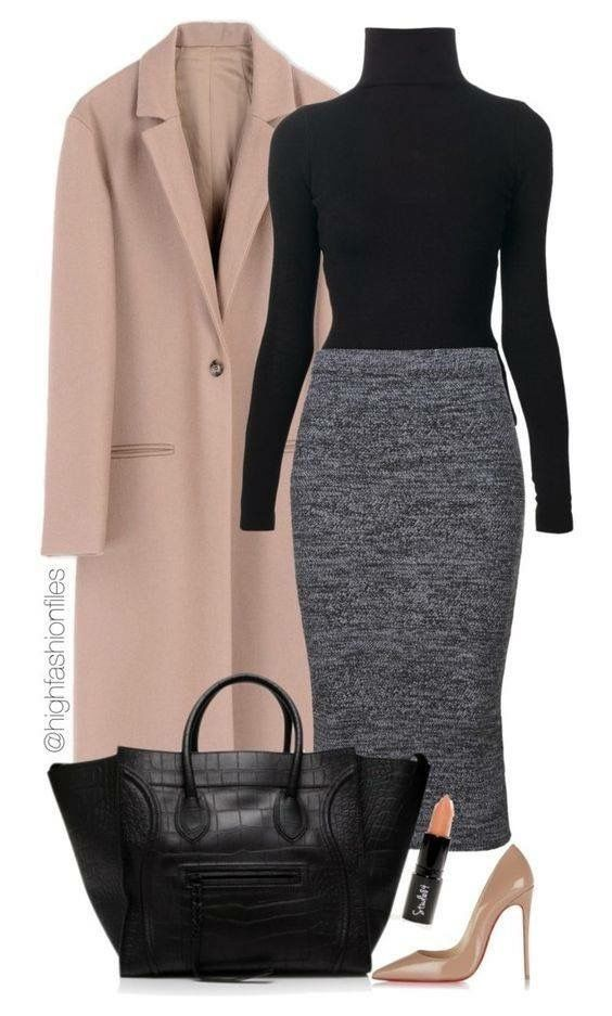 Business professional autumn winter outfit pencil skirt camel coat #businessprofessionaloutfits