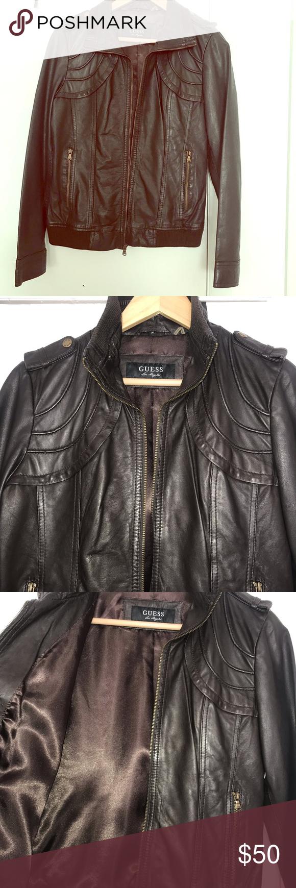 Guess Women S Dark Brown Vegan Leather Jacket M Brown Vegan Leather Jacket Vegan Leather Jacket Brown Faux Leather Jacket [ 1740 x 580 Pixel ]