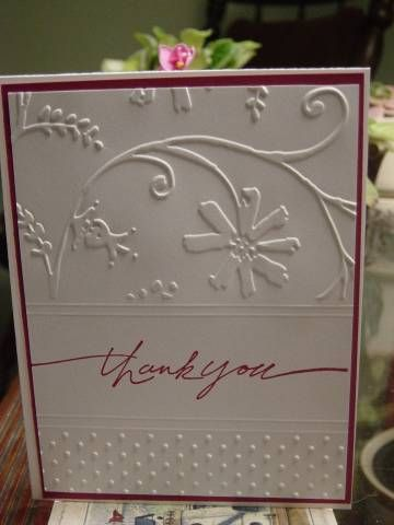 Beautiful card made with a Cuttlebug embosser.