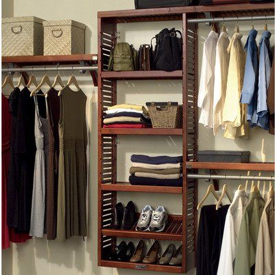 John Louis Home JLH529 Premier 12Inch Deep Closet Shelving System Red  Mahogany *** See