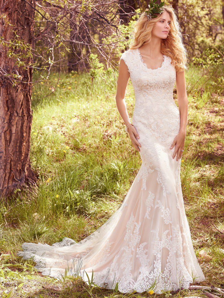 Lace fit and flare wedding dress with sleeves  Maggie Sottero Wedding Dresses  Maggie sottero Maggie sottero
