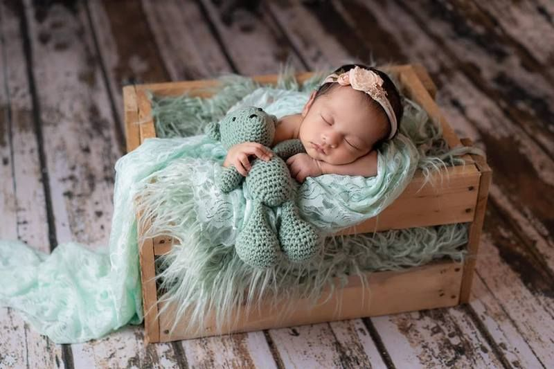 Photo of Baby Blue Faux Flokati Alpaca Fur Rug Newborn Photography Prop