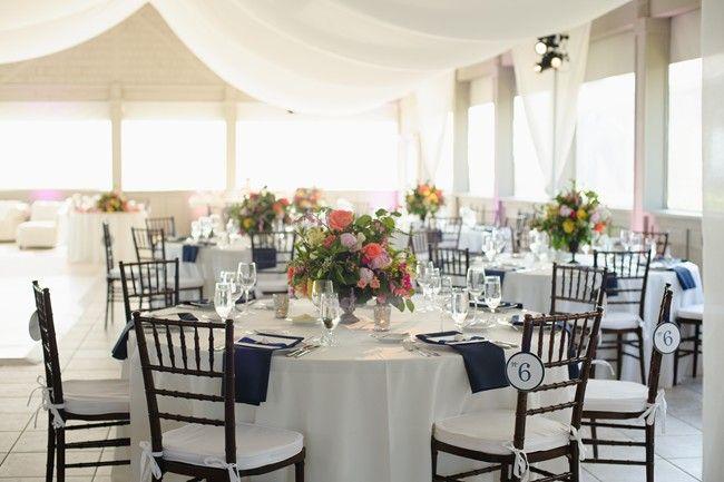 Navy Blue Themed Beach Wedding At Sanderling Resort. Table Cloth ...
