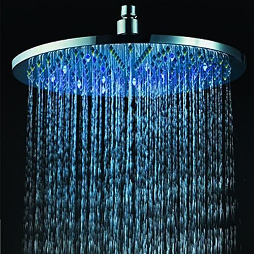 12 Inch Brass Shower Head With Color Changing Led Light Brass