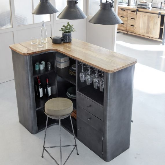 Bar en angle industriel métal gris et plateau en bois