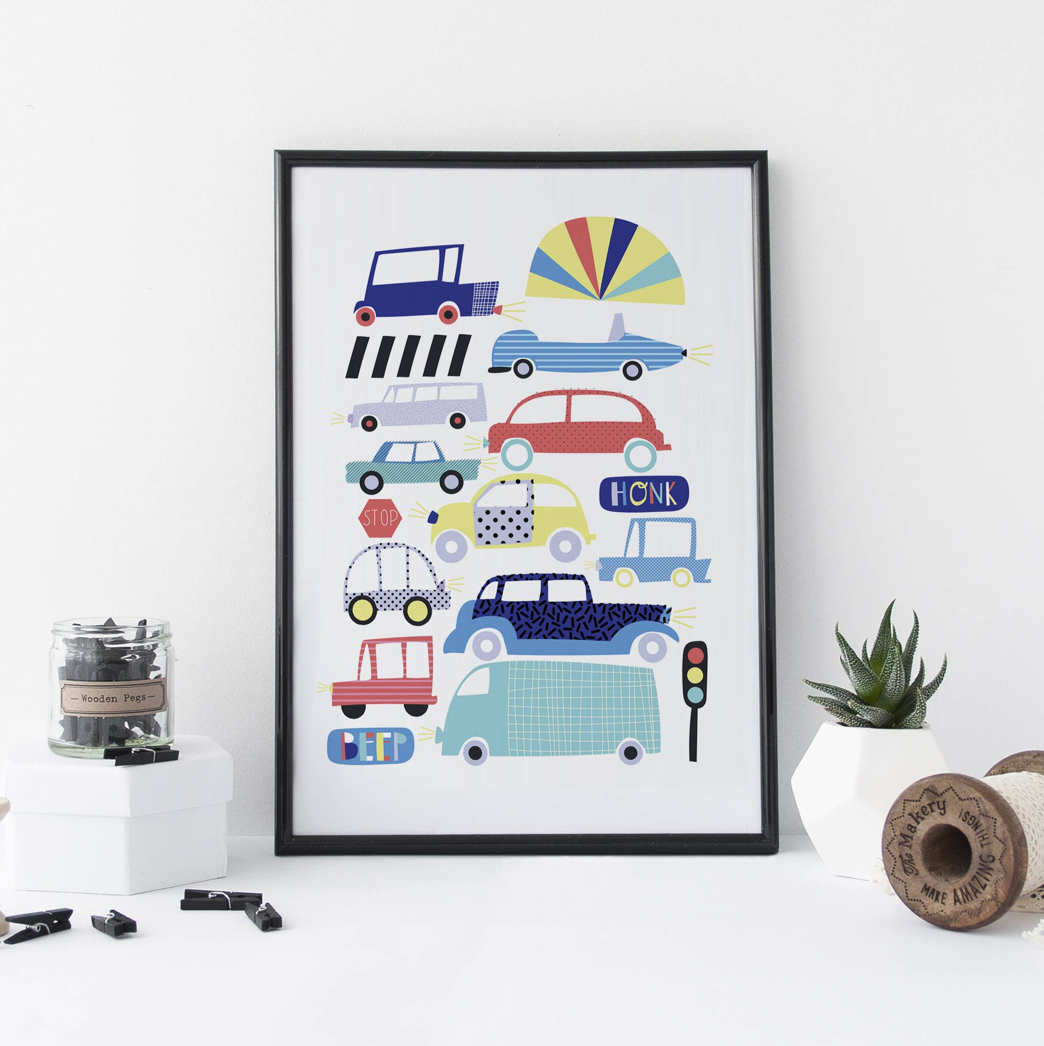 Cars Print Kids Art Nursery Art Illustration Cute Art