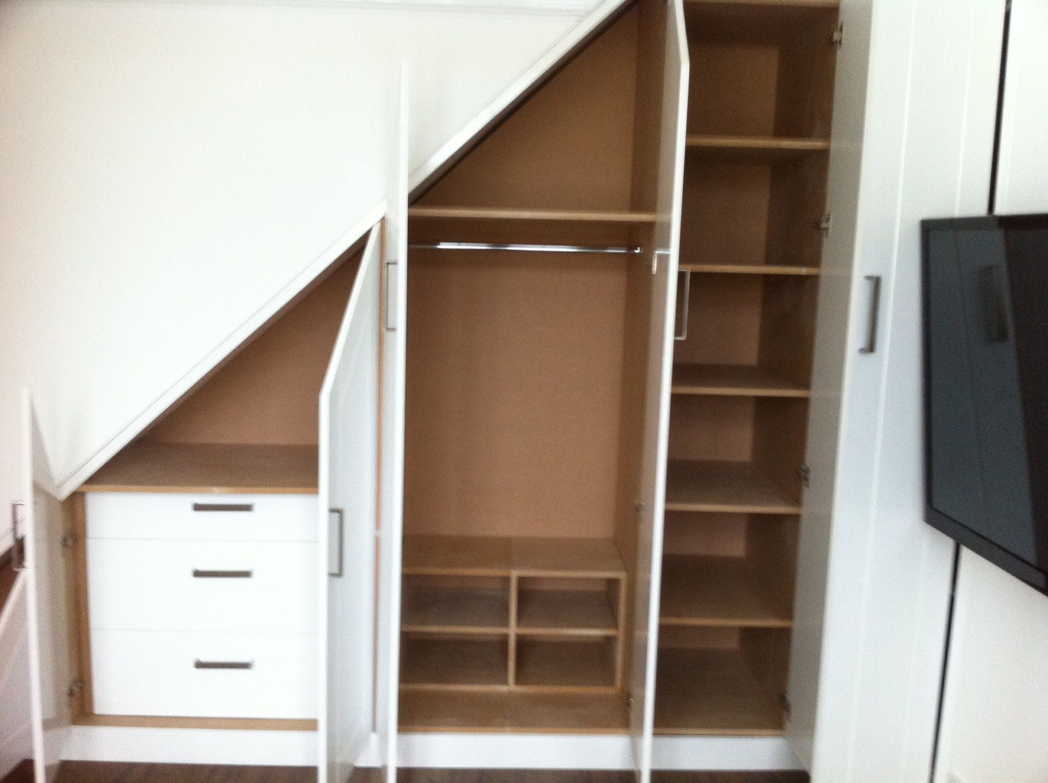 internal carcass of under stairs built in wardrobe. Black Bedroom Furniture Sets. Home Design Ideas