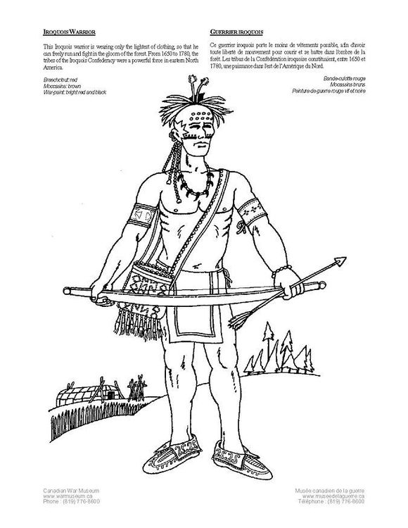 Coloring Page Iroquois Warrior Img 4229 Coloring Pages Iroquois Indian Colours