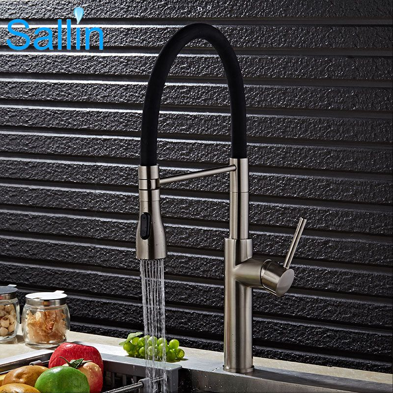 Kitchen Water Faucet Full Set Luxury Spring Pull Down Brushed Nickel Brass Made Spray Shower Head
