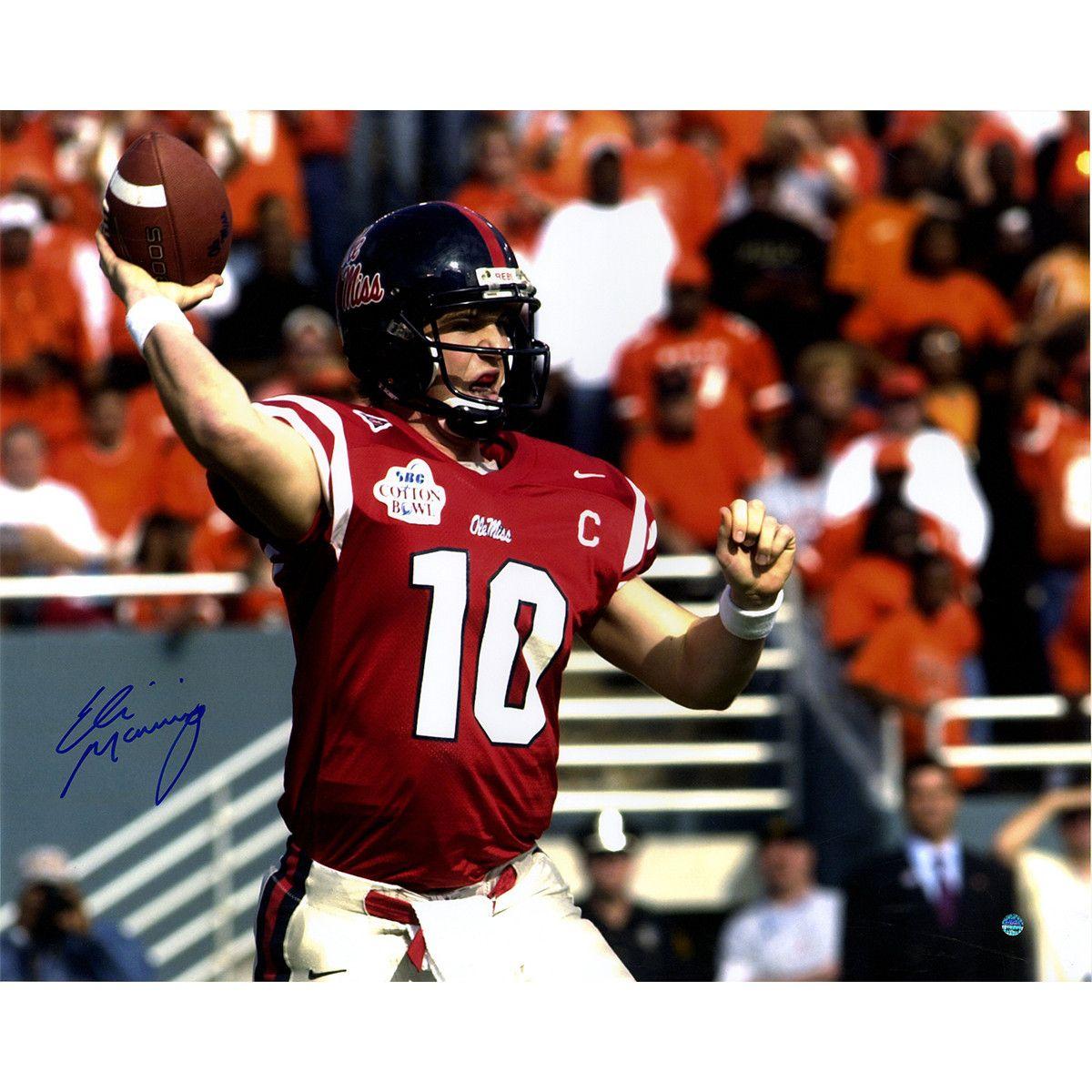 Eli Manning Signed Ole Miss Red Jersey 16x20 Photo Steiner