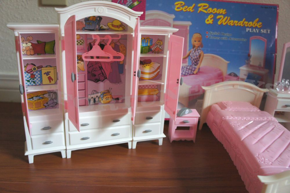 Gloria Dollhouse Furniture Barbie Size. BEDROOM U0026 WARDROBE Play Set. One  Wardrobe Measures 11