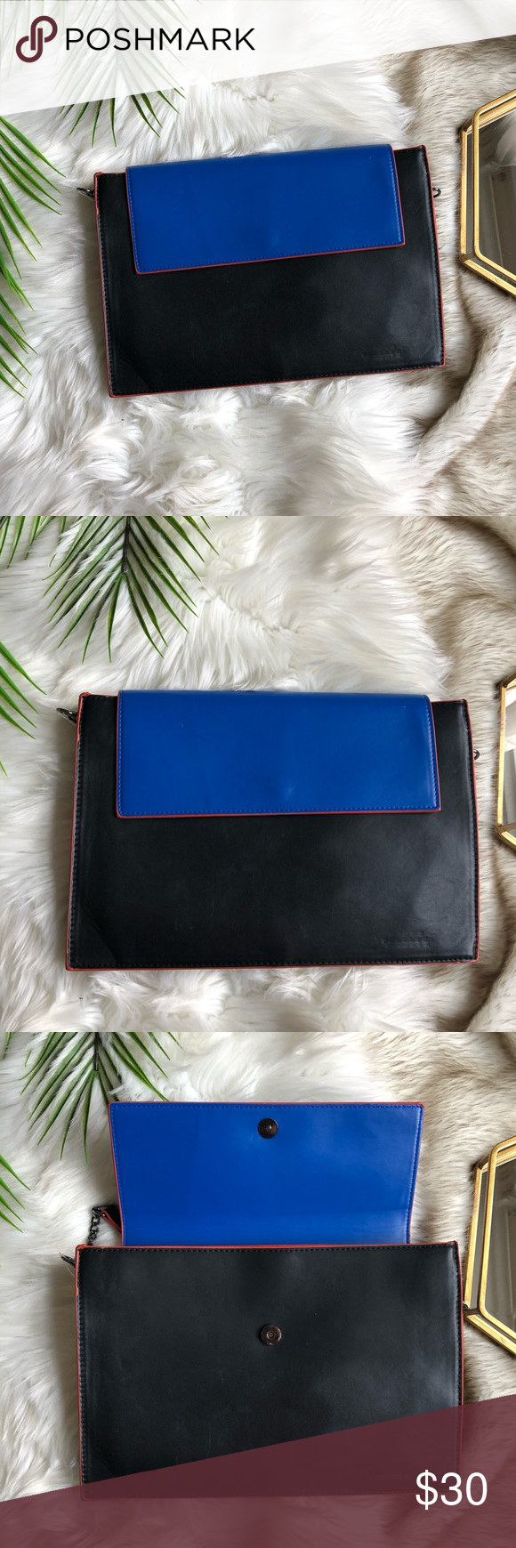 38a168c479cbae ZARA Colorblock Clutch Convertible Bag Purse ZARA Blue and black color  block with red trim Detachable