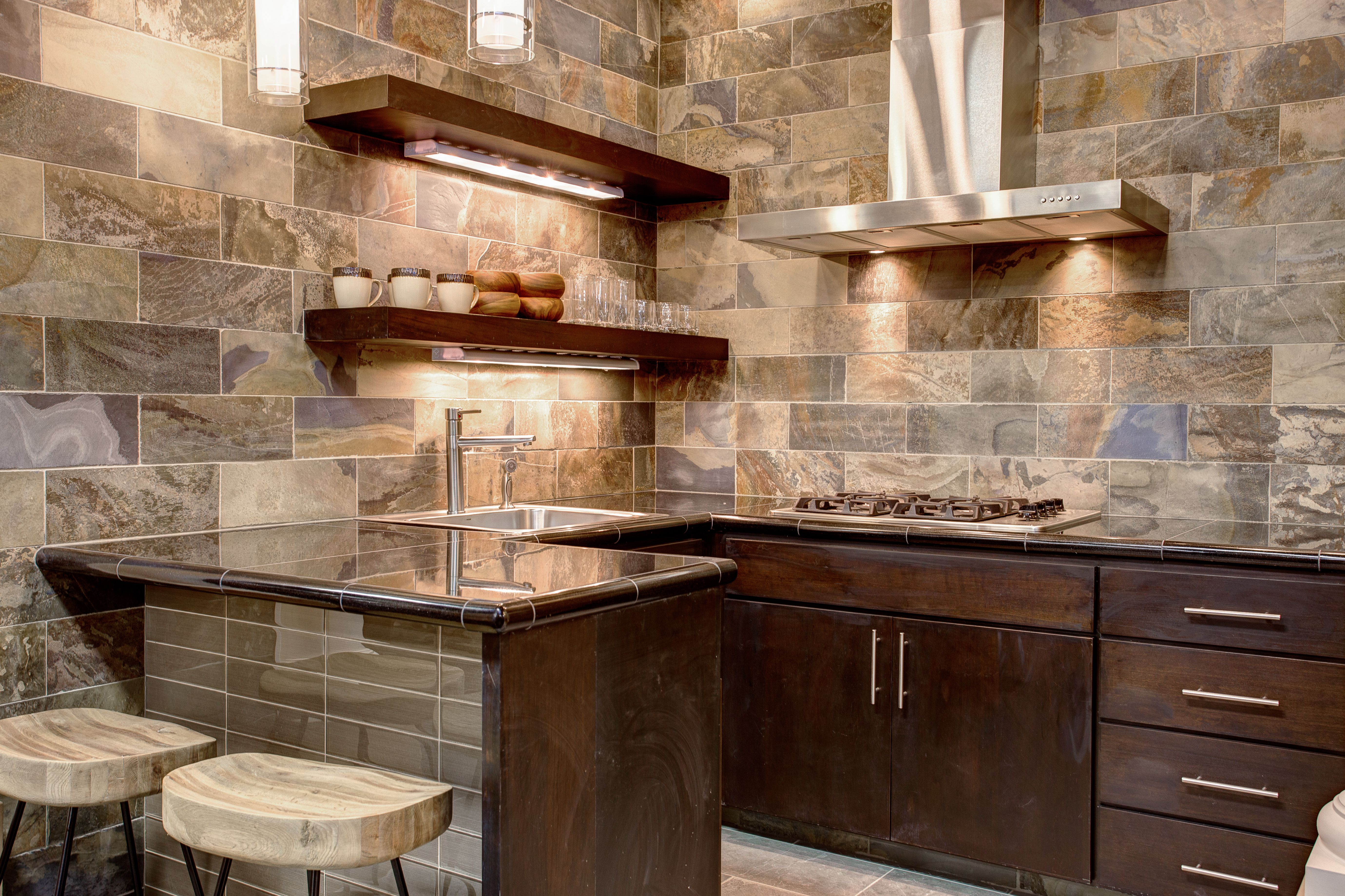 Mongolian Desert slate kitchen with Halsted glass on the ...