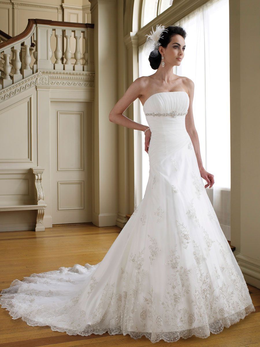 Empire Strapless Chapel Train A-line Bridal Gown with Ruched Bodice ...
