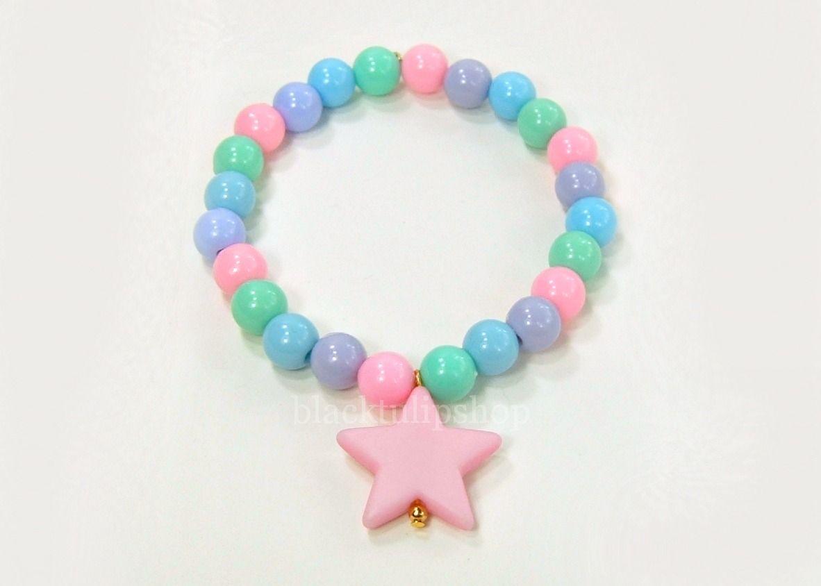 Kawaii Star Fairy Kei OTT Lolita Round Stretch Bracelet Sweet Pastel Light Multicolor Beads from black tulip shop http://blacktulipshop.storenvy.com/products/3138339-kawaii-star-fairy-kei-ott-lolita-round-stretch-bracelet-sweet-pastel-light-m