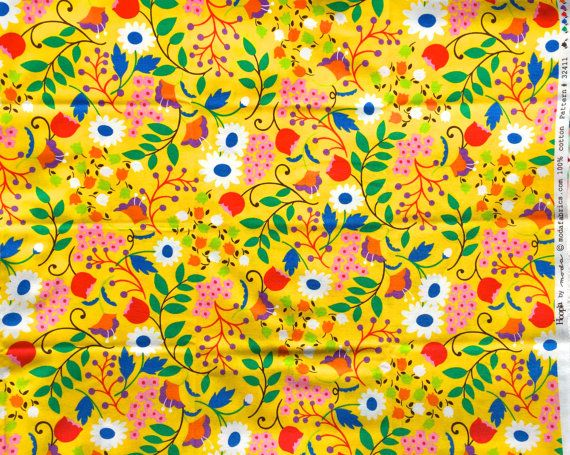 Hoopla floral yellow moda fabrics FQ or more by claydeal on Etsy