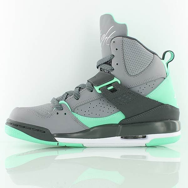 JORDAN FLIGHT 45 HIGH IP GG CMNT GREY/WHT-DRK GRY-GRN GLW