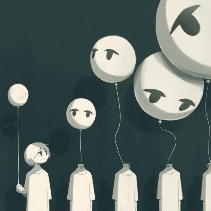 50 Powerful Illustrations By Japanese Artist That Will Make You Think Iskusstvo Depressii Psihodelicheskie Risunki Temnye Risunki