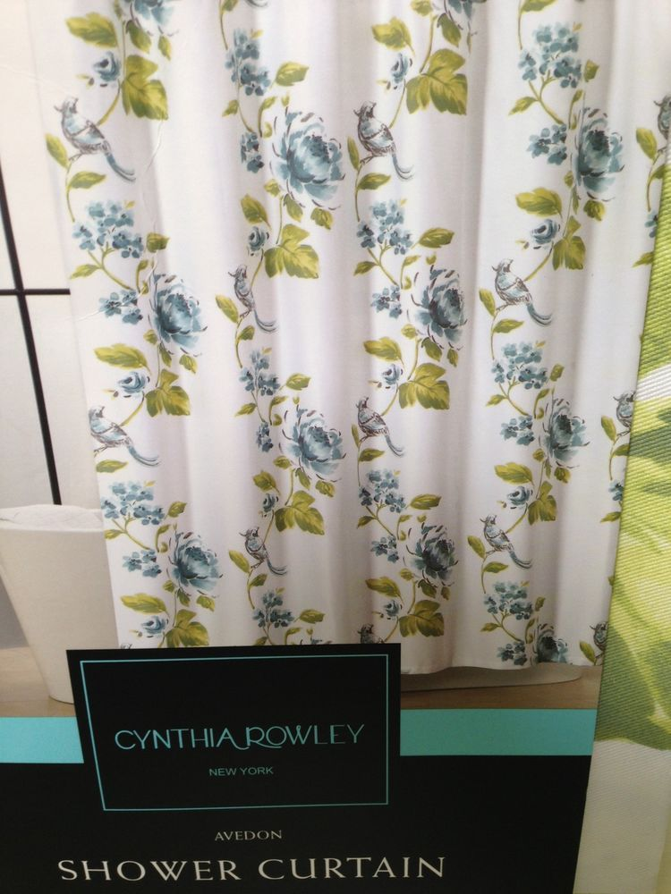 Cynthia Rowley Fabric Shower Curtain Watercolor Blue Green