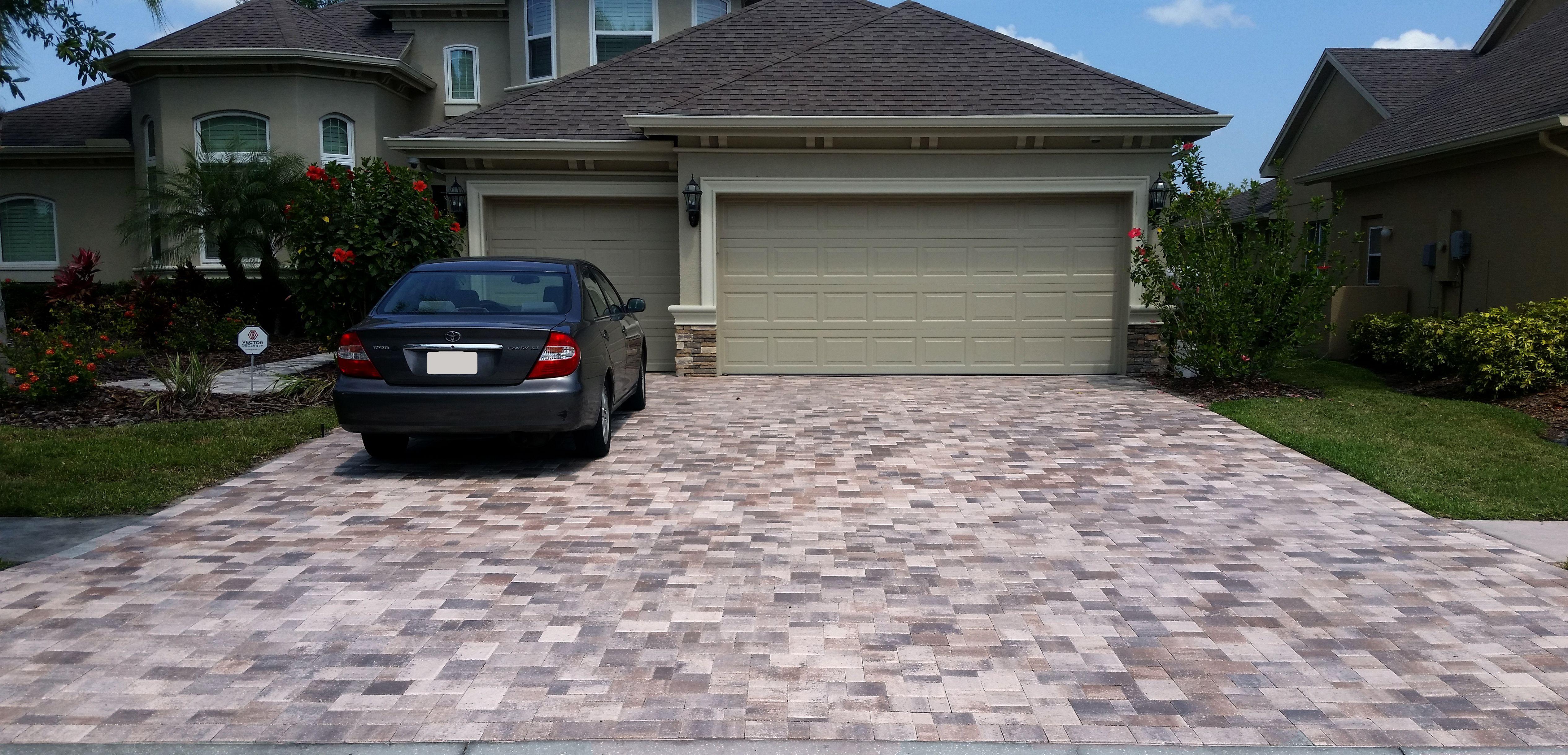 White Tan Charcoal Brick Paver Driveway Removed And Installed In 1 1 2 Days Brick Paver Driveway Paver Driveway Brick Pavers