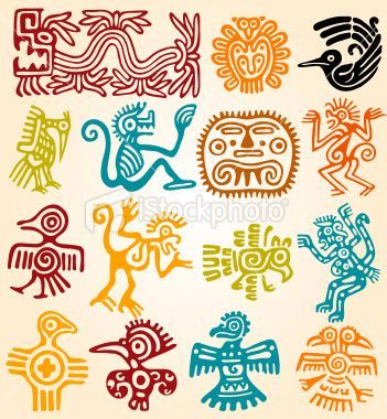 Set Mexican Symbols Tin Art Symbols And Aztec Symbols