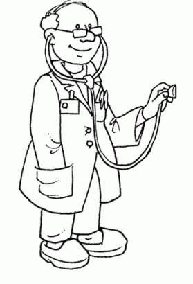 Okul öncesi Meslekler Boyama Sayfası Doktor Meslekler