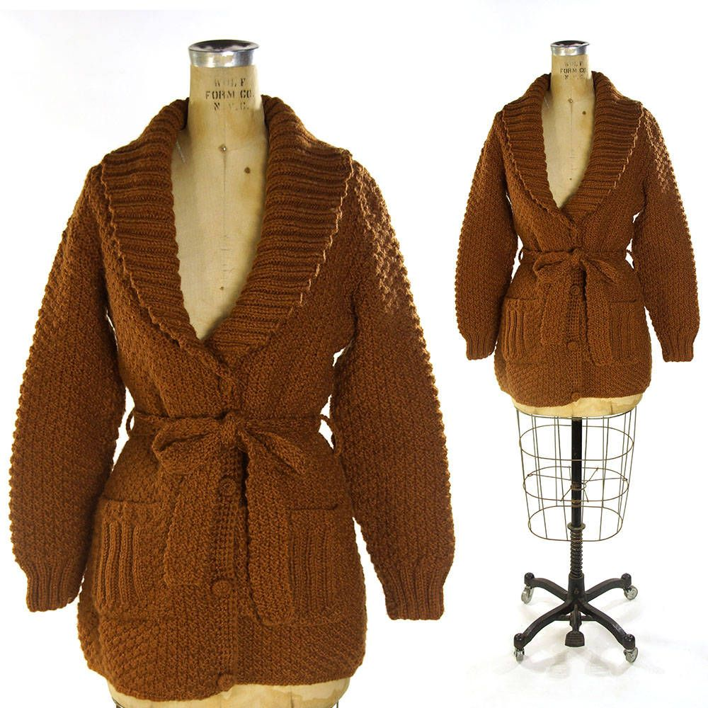 70s Handmade Cardigan / Vintage 1970s Chunky Cocoa Brown Button Up ...