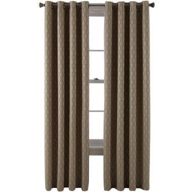 Liz Claiborne Dakota Two Tone Lined Grommet Top Curtain Panel